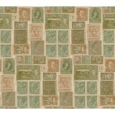 Texture Passport Postage Stamps GX8177 Green-Peach Wallpaper