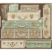 Texture Passport Suitcases GX8185 Wallpaper in Green and Antique White