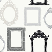 YS9338-PEEK-A-BOO PICTURE GALLERY WALLPAPER -warm white-black-praphite gray-purple