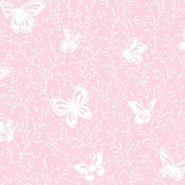 YS9217 PEEK A BOO BUTTERFLY GARDEN WALLPAPER Soft Pink White