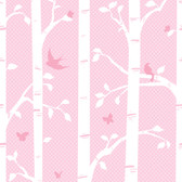 YS9234M-PEEK-A-BOO GARDEN BUTTERFLIES/BIRDS MURAL-powder pink-hint of lavender pink-medium pink-white