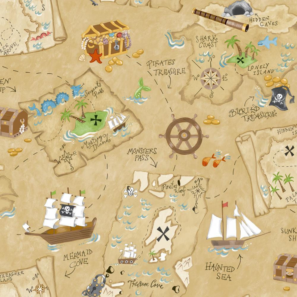 Ys9294 Peek A Boo Pirate Map Wallpaper Sand Beige Medium Green Red Brown Deep Blue Gold Tone Yellow