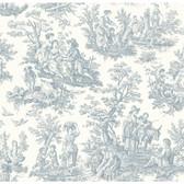 WA7830-WAVERLY CLASSICS  COUNTRY LIFE WALLPAPER-Pure White-Delft Blue