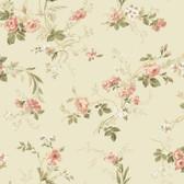 Keepsake Small Floral Trail Pink-Linen Wallpaper GP7354