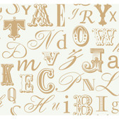 Risky Business II Word Play Wallpaper RB4276 -Gold Pearl-White