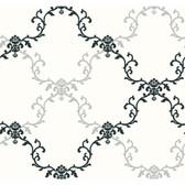 Tres Chic Frame Geometric Wallpaper-BL0388-White-Black-Silver