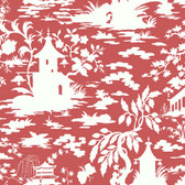 Silhouettes Asian Scenic Toile Berry Wallpaper AP7418