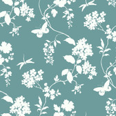 Silhouettes Trailing Floral and Vines Ocean Wallpaper AP7429