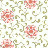 Silhouettes Daisy Medallion with Scrolls Pickle Wallpaper AP7457