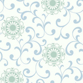 Silhouettes Daisy Medallion with Scrolls Cerulean Wallpaper AP7458