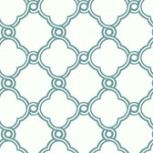 Silhouettes Fretwork Trellis Ocean Wallpaper AP7483