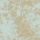 Silhouettes Contemporary Trees Blue-Brown Wallpaper AP7506