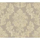 Rhapsody Regal Framed Damask Wallpaper-VR3497 -silver streak- bronzed- sugar cake cream