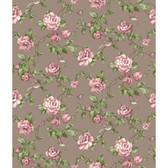 Rhapsody Garden Floral Wallpaper-VR3510 -pewter glow- dusty rose- mauve- pink whisper- medium greens