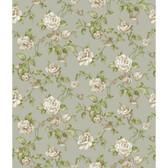 Rhapsody Garden Floral Wallpaper-VR3512 -silver satin- pale taupe- beige- warm white- shades of sage green
