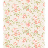 Rhapsody Garden Floral Wallpaper-VR3514 -silver pearl- nectarine- peach- grey/green- cocoa