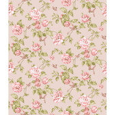 Rhapsody Garden Floral Wallpaper-VR3515 -pearlescent pink pearl- watermelon- pale pink- shades of sage green
