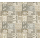 AM8725 - American Classics Eclectic Patchwork Cream-Grey Wallpaper
