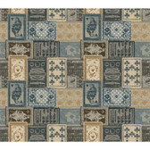 AM8726 - American Classics Eclectic Patchwork Blue-Brown Wallpaper