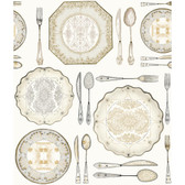 AM8733 - American Classics Dinnerware Wallpaper in Cream, White, and Grey