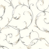 AB1961 - Ashford House Black & White Acanthus Scroll Gold-White Wallpaper