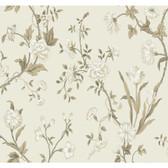 AB2120 - Ashford House Black & White Gracie Floral Cream-Tan Wallpaper