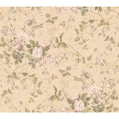 Orange & Yellow Book Floral Branch Wallpaper GN2458-Sand-Deep Beige-Soft Pink-Silver Green