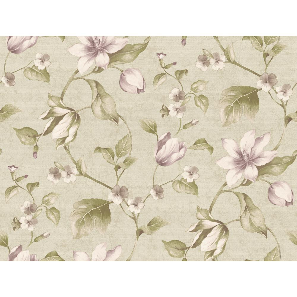 Pink Purple Book Tulip Floral Wallpaper Cg5622 Light Pewter