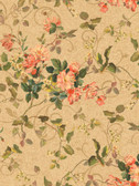 Pink & Purple Book Floral Branch Wallpaper GN2459-Deep Beige-Hint Of Green