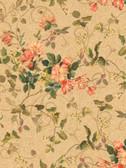 Pink & Purple Book Floral Branch Wallpaper GN2459-Deep Beige-Hint Of Green