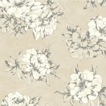 Ab2125 Ashford House Black White Watercolor Floral Taupe Wallpaper