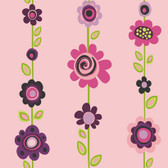 Girl Power 2 Floral Stripe Pink-Violet Wallpaper PW3962