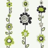 Girl Power 2 Floral Stripe Lime-Pine Wallpaper PW3966