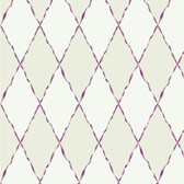 Girl Power 2 Ribbon and Harlequin Purple-Cream Wallpaper PW4047