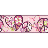 Girl Power 2 Peace Sign Pink Border Wallpaper PW3917B