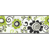 Girl Power 2 Floral Scroll Green Border Wallpaper PW3952B