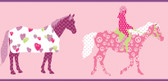 Girl Power 2 Horse Pink Border Wallpaper PW4103BD