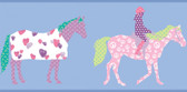 Girl Power 2 Horse Blue Border Wallpaper PW4104BD