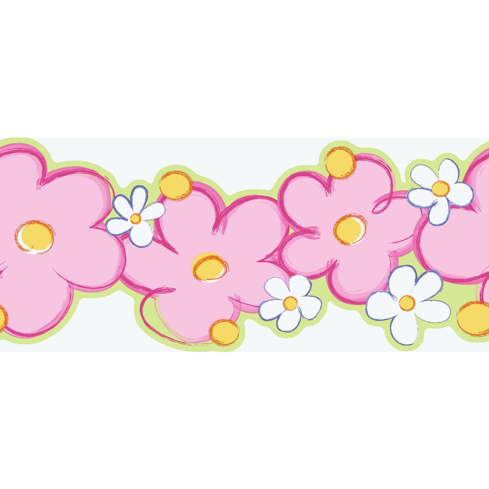 Girl Power 2 Daisy Pink-Yellow Border Wallpaper SK6352BPW