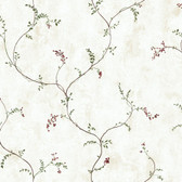 Hearts & Crafts III Berry Vine Border Wallpaper CB5552BD in Red and Tan