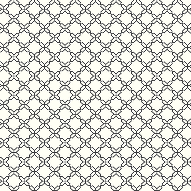 Ab2156 Ashford House Black White Geometric Trellis Black White Wallpaper