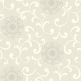 AB2174 - Ashford House Black & White Medallion With Scroll Wallpaper in Tan, Cream, and Silver
