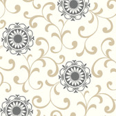 AB2175 - Ashford House Black & White Medallion With Scroll Wallpaper in Grey, Tan, and White