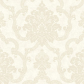 AB2183 - Ashford House Black & White Decorative Damask Wallpaper in Tan and Cream