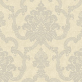 AB2184 - Ashford House Black & White Decorative Damask Wallpaper in Beige and Silver