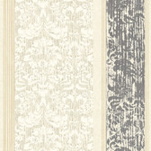 AB2187 - Ashford House Black & White Damask Stripe Wallpaper in Cream and Grey