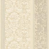 AB2188 - Ashford House Black & White Damask Stripe Wallpaper in Beige and Silver