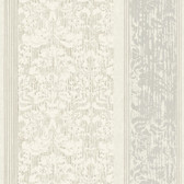 AB2189 - Ashford House Black & White Damask Stripe Wallpaper in White and Silver