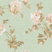 Texture Graystone Estate Whitworth Peony HD6918 Mint Green-Pink Wallpaper