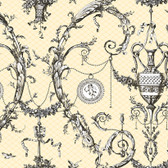 AH4756 - Ashford House Black & White Neo-Classic Urn Toile Cream Wallpaper